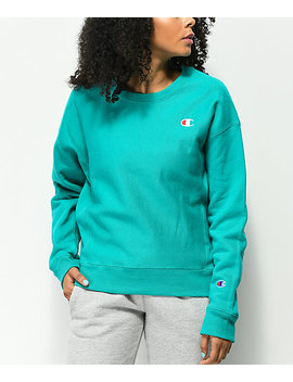 champion-reverse-weave-vivid-teal-crew-neck-sweatshirt by champion