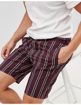 asos-design-slim-shorts-in-wine-stripe by asos-design