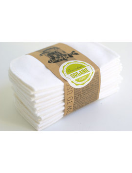 organic-cotton-flannel-cloth-wipes-with-organic-cotton-thread-----organic-wipes---double-layer------white by etsy