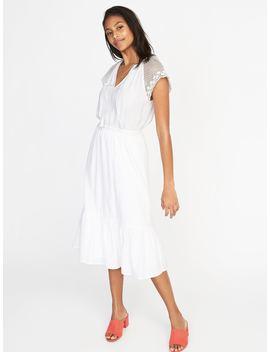 crochet-sleeve-waist-defined-midi-dress-for-women by old-navy