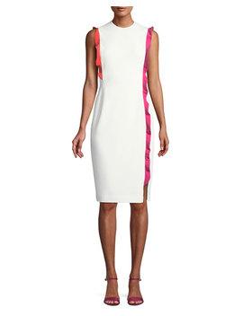 whitely-sheath-dress-w_-contrast-ruffle-trim by black-halo