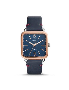 Micah Three Hand Navy Leather Watch by Fossil