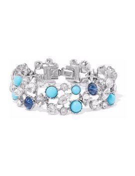 silver-tone,-swarovski-crystal-and-stone-bracelet by ben-amun