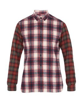 contrast-sleeve-checked-brushed-cotton-shirt by lanvin