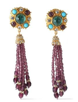 gold-tone-swarovski-crystal-and-stone-clip-earrings by ben-amun