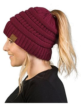 funky-junque-cc-ponytail-messy-bun-beanietail-womens-beanie-solid-ribbed-hat-cap by funky-junque