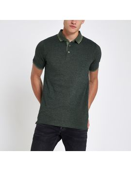 only-&-sons-green-polo-shirt by river-island