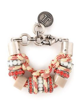 silver-tone,-cord,-resin-and-crystal-bracelet by lanvin