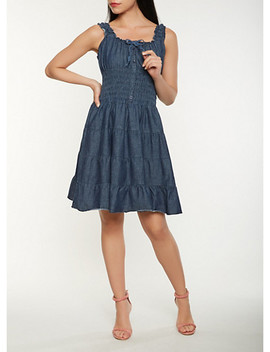 smocked-denim-skater-dress by rainbow
