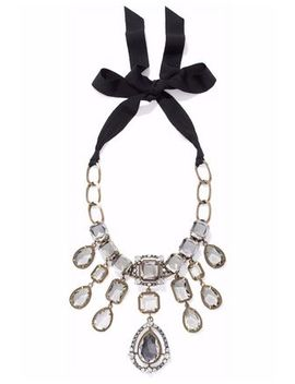gold-and-gunmetal-tone-crystal-necklace by lanvin