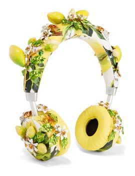floral-appliquéd-printed-leather-wireless-headphones by dolce-&-gabbana