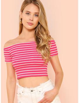 rib-knit-striped-bardot-top by shein