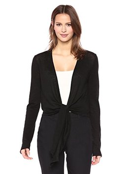 theory-womens-long-sleeve-cropped-linen-wrap-cardigan by theory