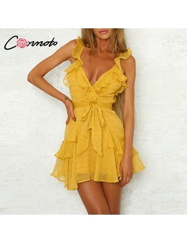 solid-ruffles-yellow-dress-women-dress-green-sexy-chiffon-casual-dress-bohemian-beach-party-dress-vestidos-white-autumn-winter by conmoto