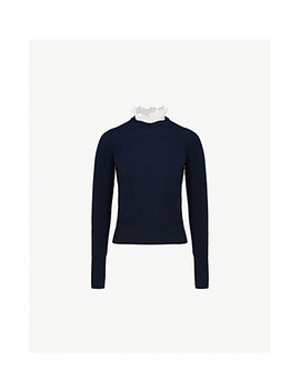 ruffled-collar-wool-and-cashmere-blend-sweater by sandro