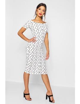 ribbed-polka-dot-square-neck-midi-dress by boohoo