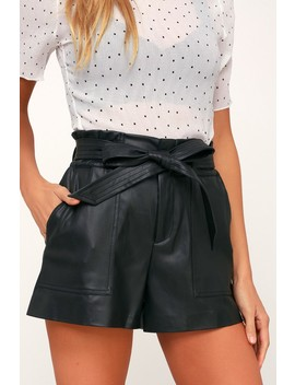 dark-web-black-vegan-leather-high-waisted-shorts by lulus