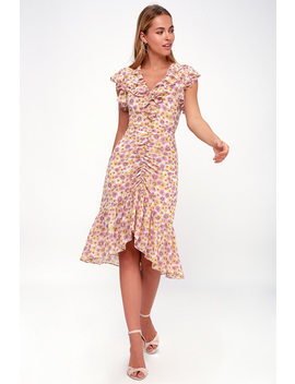 daphne-pink-and-yellow-floral-print-midi-dress by lulus