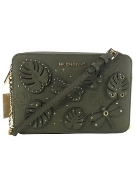 jet-set-large-embellished-green-leather-cross-body-bag by michael-kors
