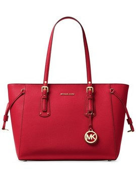 voyager-medium-multifunction-top-zip-bright-red-leather-tote by michael-kors