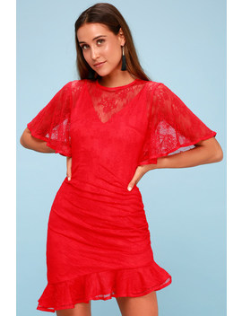 get-free-red-lace-mini-dress by lulus