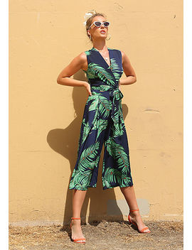 navy-tropical-leaf-cropped-palazzo-jumpsuit by love-culture