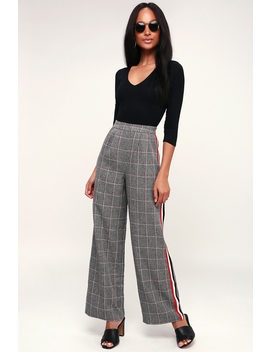 plaid-to-be-there-grey-plaid-side-stripe-trouser-pants by lulus