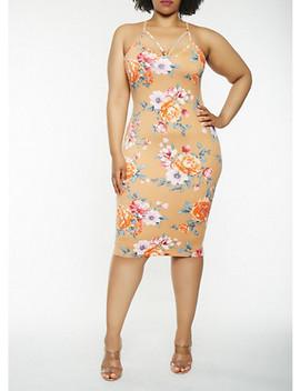 plus-size-floral-midi-bodycon-dress by rainbow