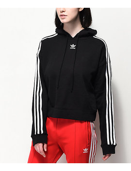 adidas-3-stripe-black-cropped-hoodie by adidas