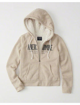 full-zip-sherpa-logo-hoodie by abercrombie-&-fitch