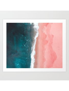 turquoise-sea-pastel-beach-art-print by nautical-decor