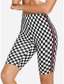 letter-side-plaid-short-leggings by shein