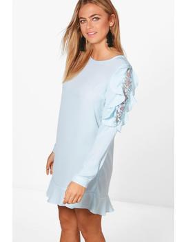 lace-and-ruffle-shift-dress by boohoo