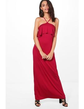 high-neck-strappy-ruffle-maxi-dress by boohoo