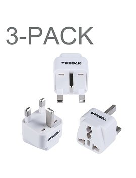 tessan-grounded-universal-travel-power-strip-plug-adapter-usa-to-the-more-of-europe-travel-prong-converter-adapter-plug-kit-for-the-more-of-europe(type-c)--3-pack(white) by tessan