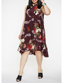 plus-size-sleeveless-printed-shirt-dress by rainbow