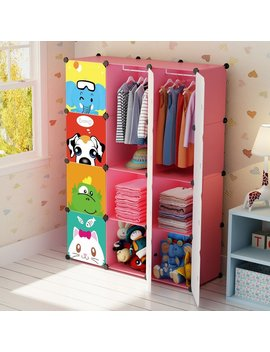 kousi-portable-kids-wardrobe-children-dresser-hanging-storage-rack-clothes-closet-bedroom-armoire-cube-organizer-formaldehyde-free-furniture,-pink,-8-cubes&2-hanging-sections by kousi