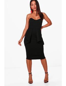 bandeau-peplum-waist-midi-dress by boohoo