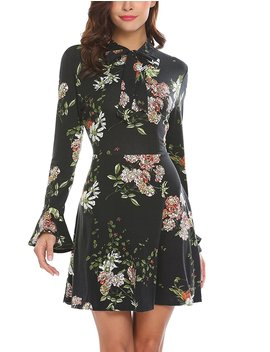 acevog-womens-casual-floral-print-bell-sleeve-fit-and-flare-dress by acevog