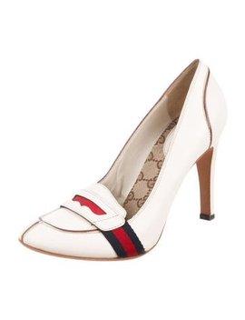 gucci-gg-web-round-toe-pumps by gucci
