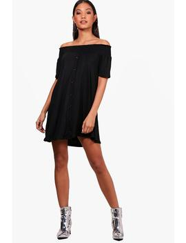 off-the-shoulder-shirring-button-shift-dress by boohoo