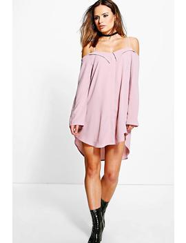 off-shoulder-eyelet-shirt-dress by boohoo