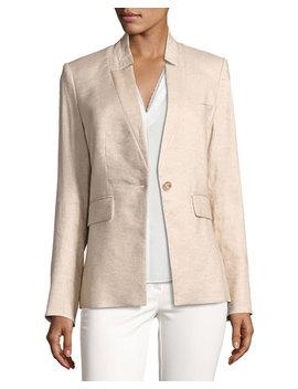 linen-blend-up-collar-jacket by veronica-beard