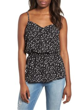 peplum-button-front-tank by gibson