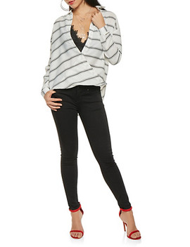striped-faux-wrap-button-front-shirt by rainbow