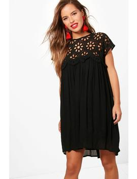 petite-boutique-crochet-lace-top-shift-dress by boohoo