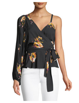 mickalene-one-shoulder-floral-silk-wrap-top by alc