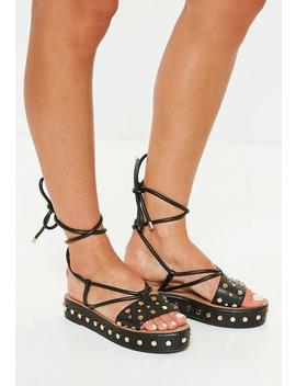 black-flatform-studded-ankle-tie-sandals by missguided