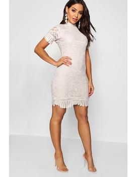 boutique-lace-high-neck-bodycon-dress by boohoo