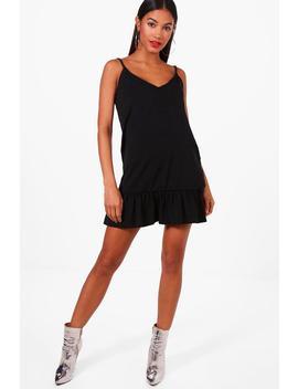strappy-frill-hem-shift-dress by boohoo